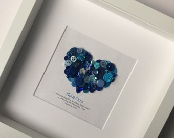 45th Anniversary Gift - Sapphire Wedding Anniversary Gift - 45th Wedding Anniversary - Sapphire Anniversary Gift - Sapphire Framed Artwork