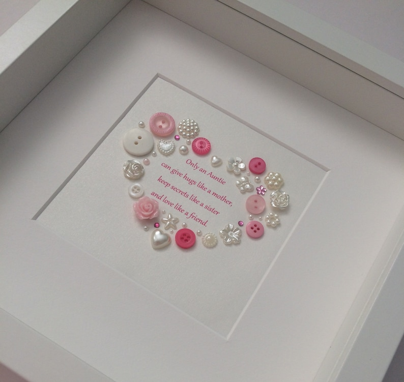 Christmas Gift For Aunt Button Art Birthday Present From