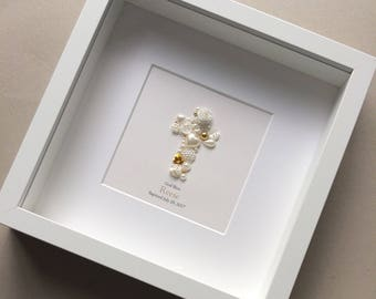 Christening Gift, Gold Button Art, Baptism Gift, Confirmation Gift, Gift for Goddaughter, Gift from Godparents, Personalised Gift, Religious
