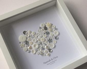 25th Anniversary Gift, Silver Wedding Anniversary Gift, Silver Anniversary, 25th Wedding Anniversary, Button Art, Celebrating 25 years
