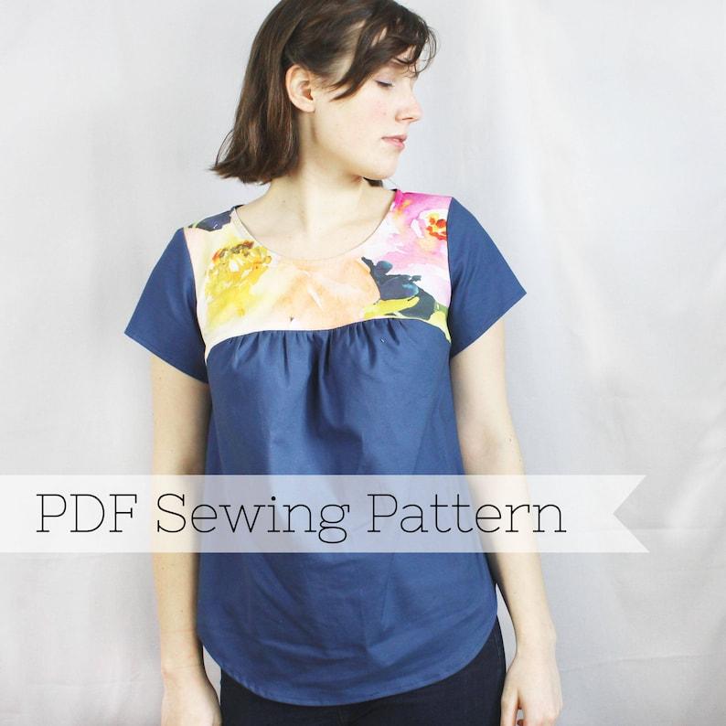 Gathered Yoke Top PDF Sewing Pattern cap sleeve short  9fb0657eb