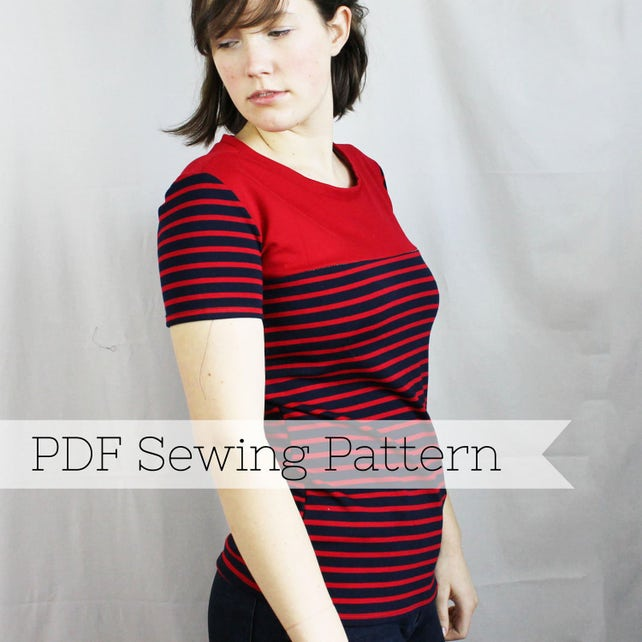 Short Sleeve Knit Yoke Tee Pdf Sewing Pattern Top Shirt Etsy