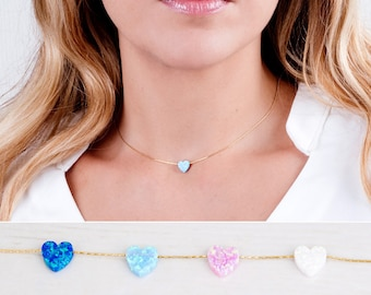 Opal Heart Choker, Gold Filled Heart Necklace, Opal Heart Necklace, Love Necklace, October Birthstone, Dainty Necklace, Blue, White, Pink