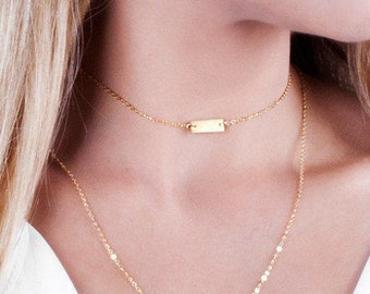 Tiny Bar Necklace, Custom Choker Necklace, Initial Choker Necklace, Gold Bar Choker, Short Necklace, Personalized Bar, Silver, Rose Gold