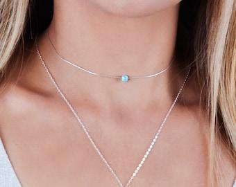 Opal Choker Necklace, Sterling Silver Choker, Blue Opal Necklace, Minimalist Choker, Gold Filled Choker, Rose Gold, Green, Pink, White Opal