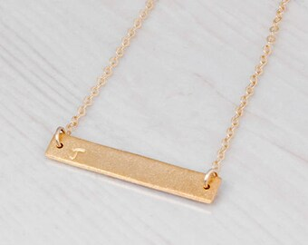 Gold Bar Necklace, Personalized Bar Necklace, Custom Necklace, Dainty Necklace, Name Necklace, Layered Necklace, Rose Gold, Sterling Silver