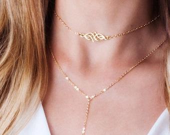 Gold Choker Necklace, Celtic Choker, Elvish Necklace, Celtic Knot Necklace, Layered Choker, Dainty Choker, Bohemian Choker, Sterling Silver