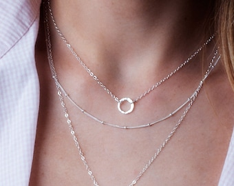 Sterling Silver Circle Necklace, Tiny Circle Necklace, Silver Karma Necklace, Small Circle Necklace, Minimalist Necklace, Ring Necklace