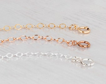 Necklace Extender Chain, Removable Extender, Sterling Silver, 14k Gold Filled, Rose Gold Filled Extension Chain, Adjustable Length Necklace