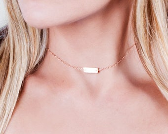 Short Bar Necklace, Initial Necklace, Rose Gold Bar Choker Necklace, Personalized Bar, Custom Stamped Bar, Small Bar Necklace, Gold, Silver