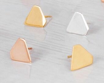 Geometric Studs, Diamond Shape Earrings, Rose Gold Stud Earrings, Delicate Earrings, Minimal Posts, Large Stud Earrings, Sterling Silver