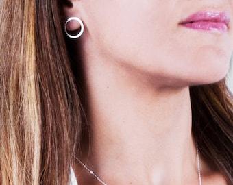 Silver Circle Stud Earrings, Sterling Silver Stud Earrings, Open Circle Earrings, Minimal Earrings, Simple Silver Earrings, Post Earrings