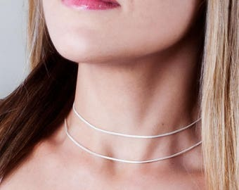 Sterling Silver Choker Chain Necklace, Choker Necklace, Silver Choker, Minimal Choker, Thin Necklace, Layered Choker, Delicate Necklace