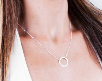 Sterling Silver Karma Necklace, Silver Ring Necklace, Delicate Circle Necklace, Large Circle Necklace, Long Necklace, Dainty Circle Necklace