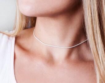Sterling Silver Choker, Thin Choker Necklace, Choker Chain Necklace, Silver Collar Necklace, Layering Choker, Delicate Choker Necklace Short