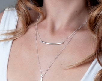 Sterling Silver Tube Necklace, Curved Bar Necklace, Tube Bar Necklace, Long Tube Necklace, Choker Bar Necklace, Silver Layered Necklace