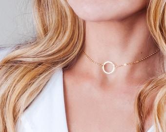 Circle Choker Necklace, Gold Choker, Open Circle Choker, Dainty Gold Filled Choker, Karma Choker, Collar Necklace, Minimal Choker Layering