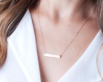Custom Bar Necklace, Necklace Name, Rose Gold Bar Necklace, Personalized Bar Necklace, Quote Necklace, Rose Gold Necklace, Layered Necklace