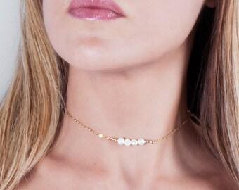 Pearl Choker Necklace, Beaded Pearl Choker, Dainty Pearl Choker, Gold Filled Choker Necklace ,Layered Choker, Bridal Necklace, Silver Pearl