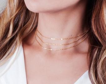 Choker Necklace, Gold Choker, Layered Choker, 14k Gold Filled Choker, Minimal Choker, Collar Necklace, Triple Choker Dainty, Simple Choker