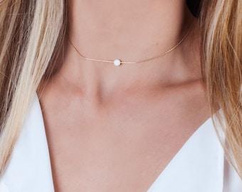 Opal Choker, Gold Choker Necklace, White Opal Choker, Silver Choker, Blue Opal Necklace, Minimal Necklace, Rose Gold Choker, Dainty Necklace