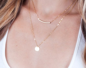 Gold Tube Necklace, Curved Bar Pendant, Dainty Gold Necklace, Layered Gold Necklace, Gold Filled Necklace, Minimal Necklace, Modern Necklace