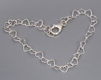 Simple Silver Bracelet, Heart Bracelet, Sterling Silver Bracelet, Layered Bracelet, Dainty Friendship Bracelet, Bridesmaid Gift, BFF Gift
