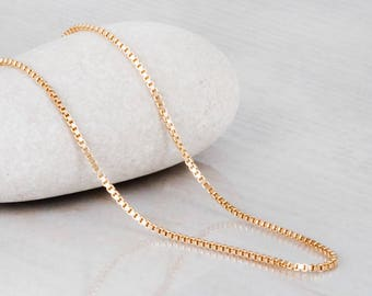Gold Chain Necklace, Simple Gold Necklace, Gold Filled Necklace, Delicate Necklace, Plain Necklace, Sterling Silver Choker Chain Necklace