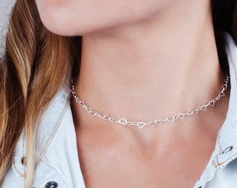 Sterling Silver Choker Necklace, Heart Choker Chain, Lace Chain Choker, Silver Collar Necklace, Short Layered Necklace, Minimal Choker Chain