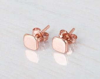 Tiny Rose Gold Earrings, Square Stud Earrings, Geometric Studs, Everyday Earrings, Pink Gold Earrings, 5mm Small Earrings, Silver, Gold Stud