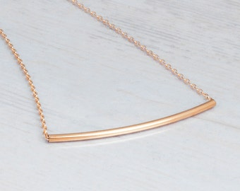 Skinny Bar Necklace, Gold Curved Bar Necklace, Tube Necklace, Gold Choker Necklace, Thin Gold Necklace, Minimalist Layering Necklace Bar