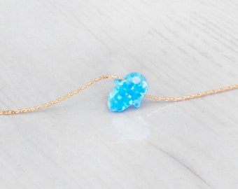 Hamsa Necklace, Blue Opal Necklace, Opal Hamsa Necklace, Turquoise Hamsa Necklace, Hamsa Choker, Gold Opal Necklace, Tiny Opal Necklace