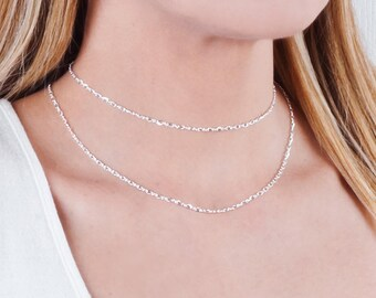 Choker Chain Necklace, Layered Choker, Sterling Silver Chain Necklace, Minimalist Link Necklace, Thin Collar, Plain Necklace, Gold Filled