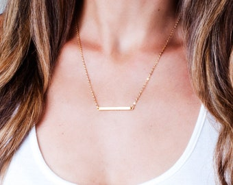 Gold Necklace Dainty, Gold Bar Necklace, Skinny Bar Pendant, Delicate Necklace, Minimal Gold Necklace, Layered Necklace, Silver, Rose Gold