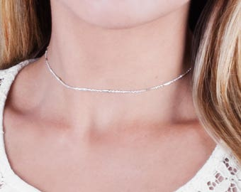 Delicate Silver Choker, Sterling Silver Choker Necklace, Layered Choker, Chain Collar Necklace, Dainty Choker Necklace, Short Necklace Chain