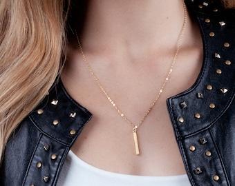 Vertical Bar Necklace, Dainty Necklace Gold, Mini Bar Necklace, Gold Bar Necklace, Drop Bar Necklace, Rose Gold, Silver Bar, Minimal Bar