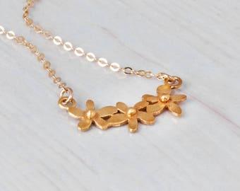 Gold Flower Necklace, Delicate Necklace, Bride Necklace, Gold Necklace, Flower Necklace, Layered Necklace, Delicae Necklace, Flower Girl