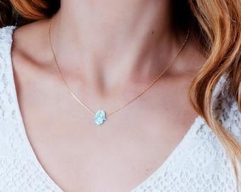 Opal Hamsa Necklace, Hamsa Necklace, Gold Opal Necklace, Delicate Necklace, Protection Necklace, Hand Of Fatima Necklace, Evil Eye Necklace