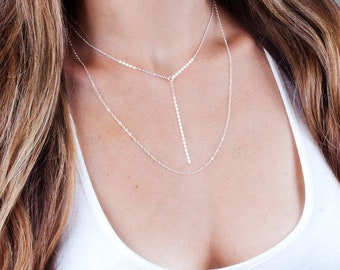 Y Lariat Necklace, Necklace Set Of Two, Simple Necklace, Drop Chain Necklace, Layered Necklace Set, Sterling Silver, Gold Filled, Rose Gold