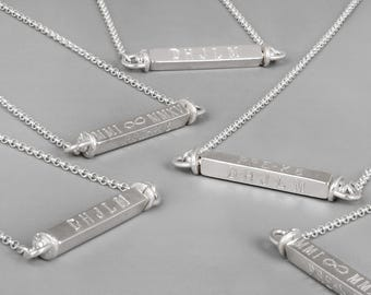 Custom Engraved Necklace, 4 Sided Bar Necklace, Personalized Bar Necklace, Silver Bar Necklace, Gold Engraved Necklace, Family Name Necklace