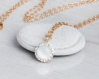 Mother Of Pearl Necklace, Dainty Gold Necklace, Bride Necklace, Small Stone Necklace, White Necklace, CZ  Necklace, Delicate Zircon Necklace