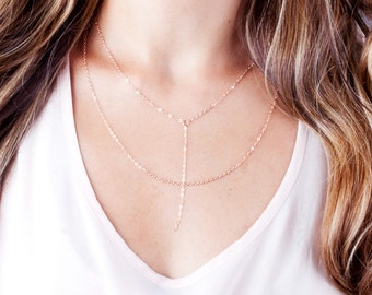 Rose Gold Lariat Necklace, Rose Gold Y Necklace, Drop Chain Necklace, Dainty Y Necklace, Short Y Necklace, Choker Y Necklace, Minimal Chain