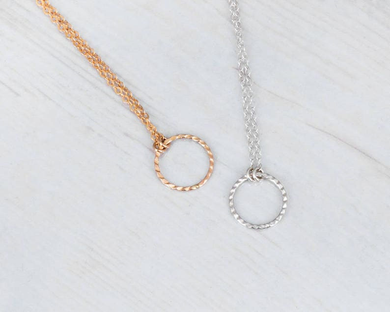 Multi Layer Necklace Gold Layered Necklace Set Sterling Silver Set of 2 Necklaces NL-4 Circle Necklace Stacked Necklace Tube Necklace