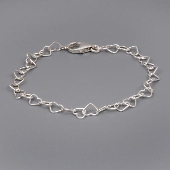 Sterling Silver Bracelet Heart Bracelet Simple Silver Etsy