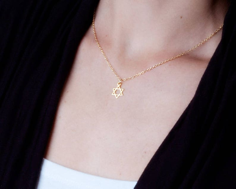 Gold Star Of David Necklace Jewish Star Necklace Dainty Gold image 0