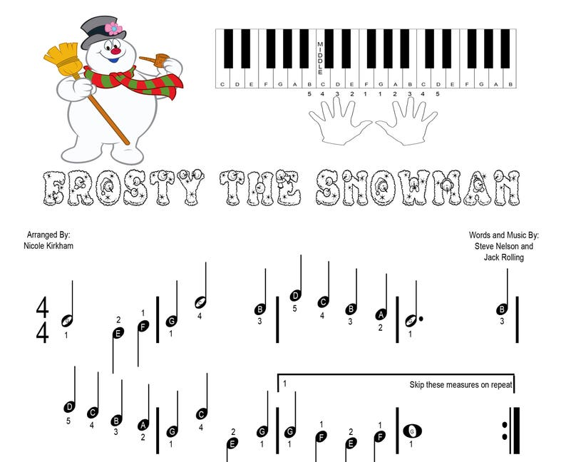 photograph relating to Vintage Christmas Sheet Music Printable,frosty the Snowman identified as Frosty the Snowman - Newbie Piano Sheet Songs