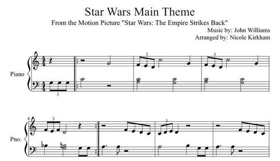 Star Wars Main Theme Beginner Sheet Music Etsy