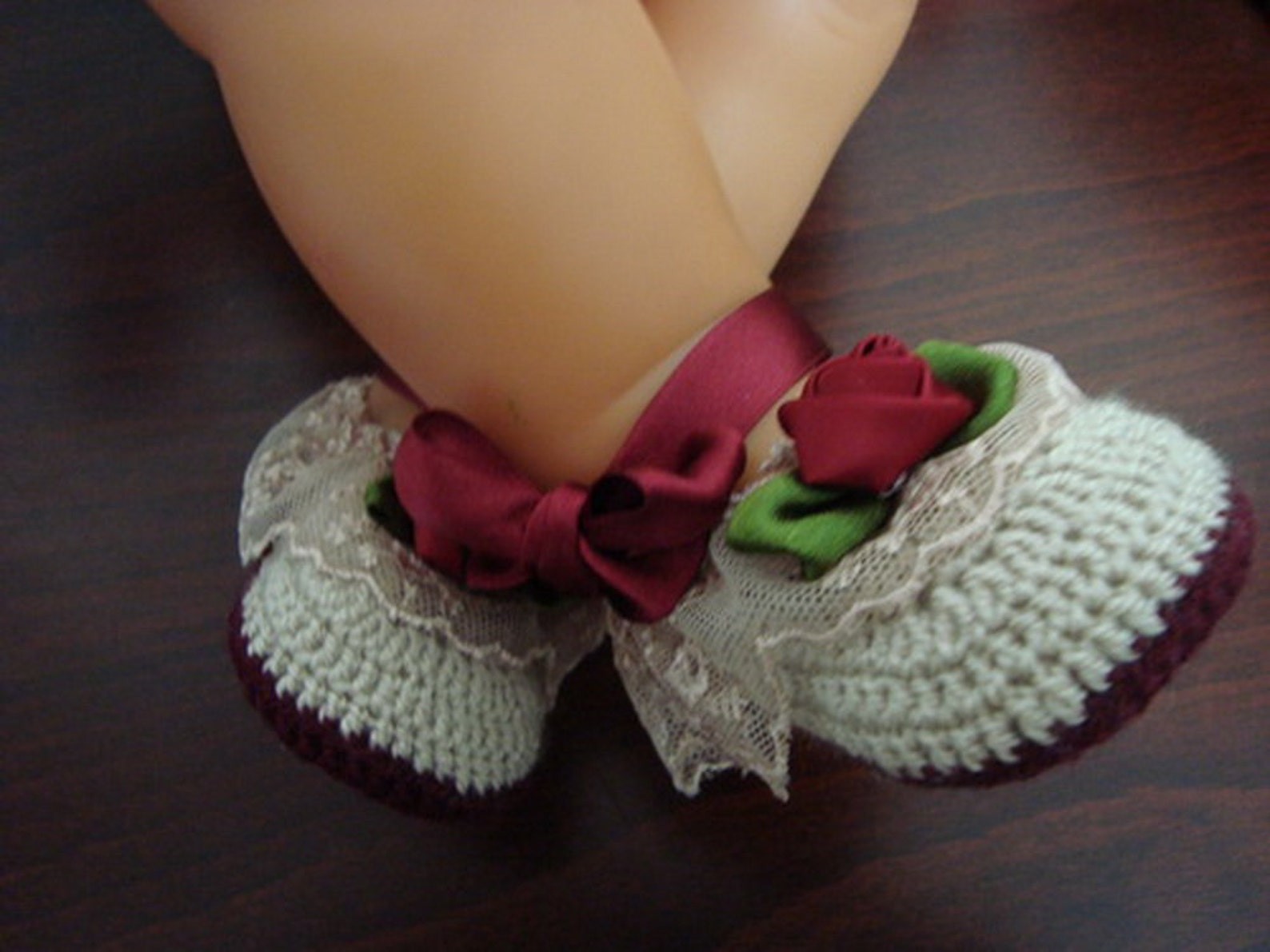 d5d65ef18982d Newborn Baby Girl Handmade Crochet Beige - Burgundy Shoes, Baby Girl ...