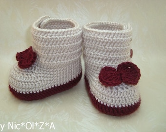 Beige-Burgundy Baby Gir,l HANDMADE, Crochet BOOTIES Boots with Bows & Buttons, Knitted Boots, Newborn Booties Baby, Girl Booties, Girl Shoes