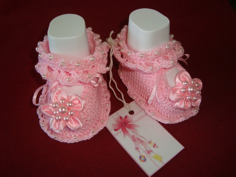 219bc5cbc5c18 Newborn Baby Girl Shoes Booties Sandals Handmade Crochet Pink | Etsy
